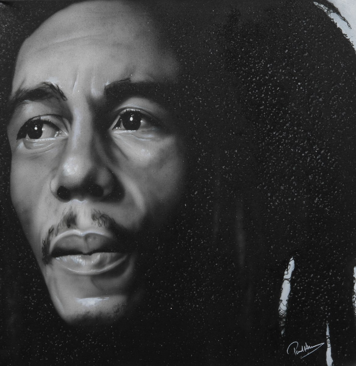 Bob Marley III by paul karslake - Orig Monochrome Airbrush W/Diamond Dust on Canvas sized 28x28 inches. Available from Whitewall Galleries